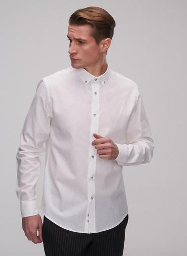People By Fabrika Keten Karışımlı Gömlek Beyaz